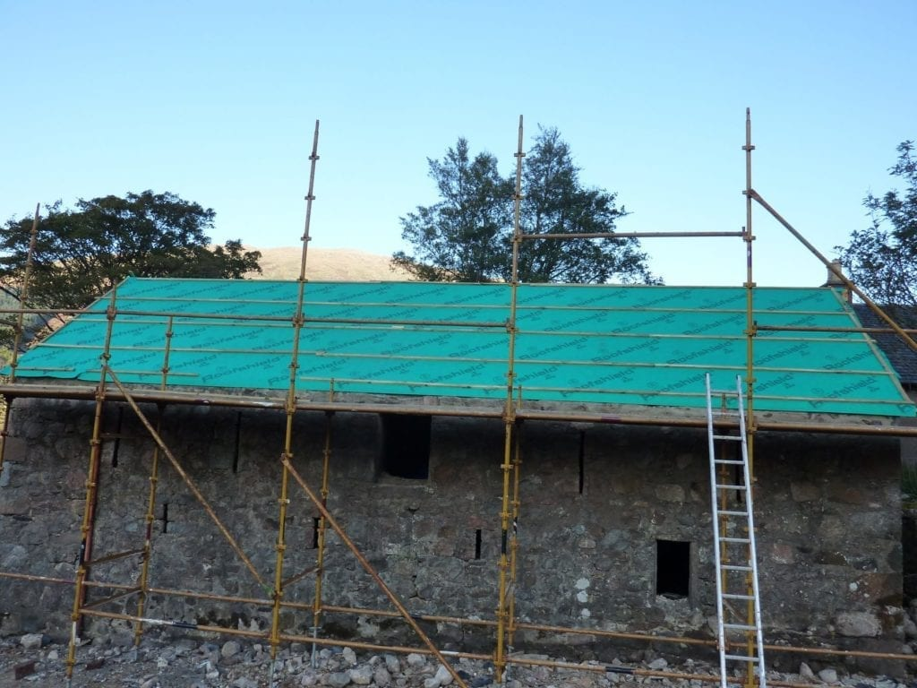 Re-roofing byre at South Corrie